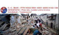 """Aiuti per le zone terremotate, """"Pisa nel cuore"""" organizza una colletta"""
