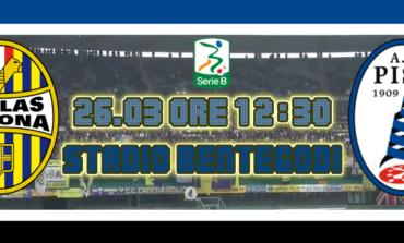 Verona-Pisa 1-1. A Siligardi risponde Tabanelli e il Pisa porta via un pari prezioso