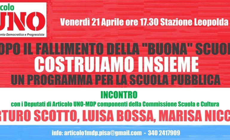 Nuova iniziativa di Articolo Uno-Mdp: incontro con i deputati della commissione scuola e cultura Arturo Scotto, Luisa Bossa, Marisa Nicchi