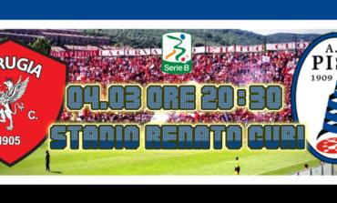 Perugia-Pisa 2-2. I nerazzurri strappano un punto d'oro al Curi di Perugia.
