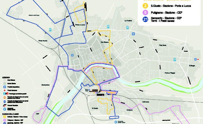 Pisa, nuovi percorsi e nuovi orari per i bus