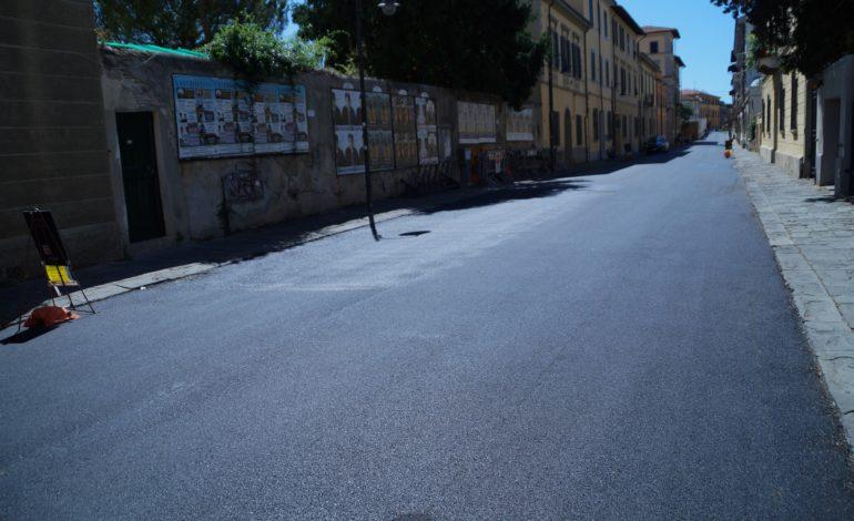 Pisa, finita la riasfaltatura di via Risorgimento