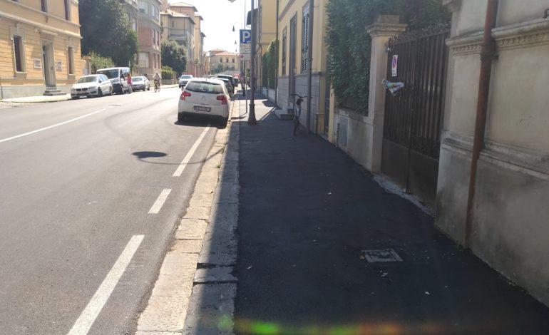 Pisa, completati i lavori per il ripristino del marciapiede di via Risorgimento