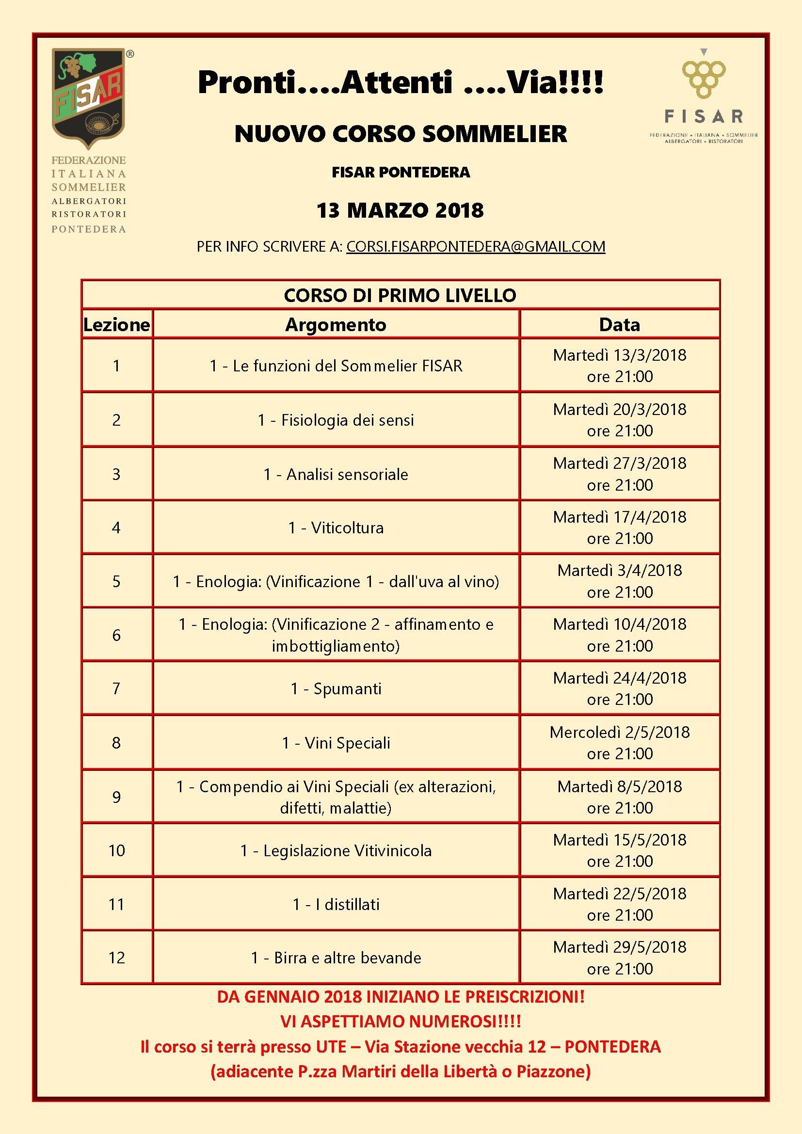 Calendario Imbottigliamento.Al Via Il Nuovo Corso Sommelier Della Delegazione Fisar