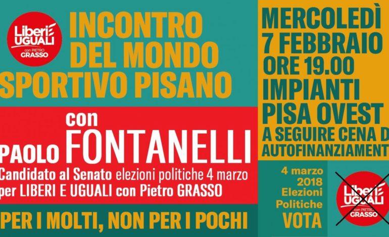 Elezioni 2018: IL CANDIDATO DI LIBERI E UGUALI AL SENATO PAOLO FONTANELLI INCONTRA LO SPORT PISANO