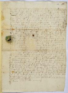 Lettera manoscritta di Federico da Montefeltro al medico Battiferro da Mercatello. Archivio di Stato di Firenze.