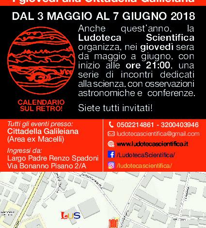 Pisa, ritornano 'I Giovedì alla Cittadella Galileiana'