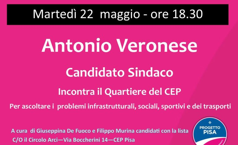 Elezioni Pisa, il candidato Sindaco Veronese incontra i cittadine del CEP