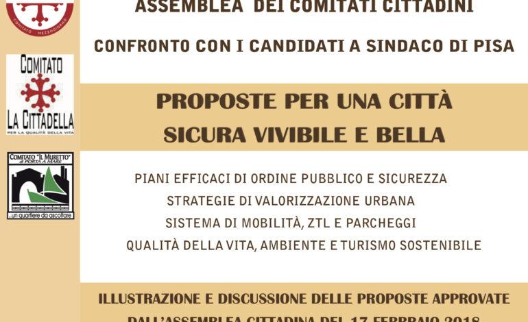Elezioni Pisa, il Coordinamento dei Comitati cittadini invita i candidati sindaci ad un confronto pubblico