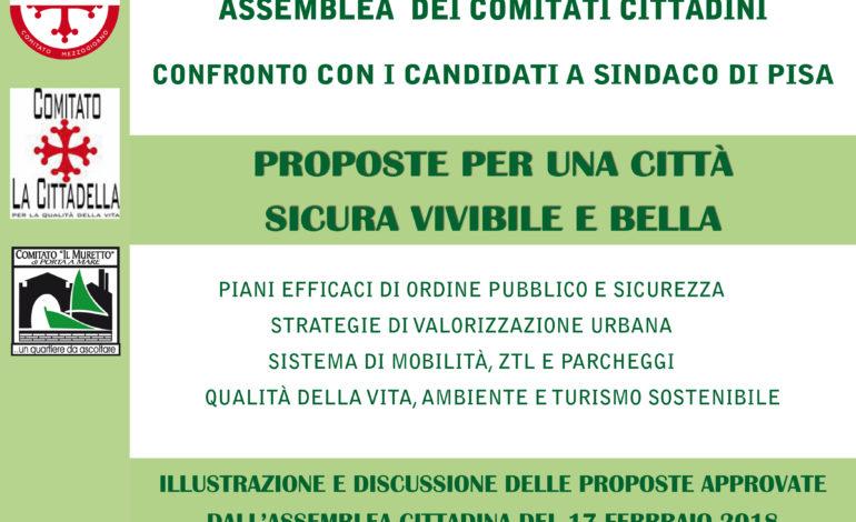 Elezioni Pisa, il Coordinamento dei Comitati cittadini di Pisa incontra i Candidati a Sindaco