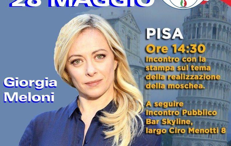 Elezioni Pisa, Giorgia Meloni a Pisa per sostenere i candidati del centro destra