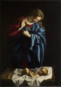 Orazio Lomi Gentileschi Madonna in adorazione del Bambino olio su tela, cm 139,8×98