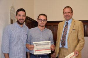 Matteo Tucci e Samuele Bendinelli (Netralmec) premiati dal prof. Leonardo Bertini.