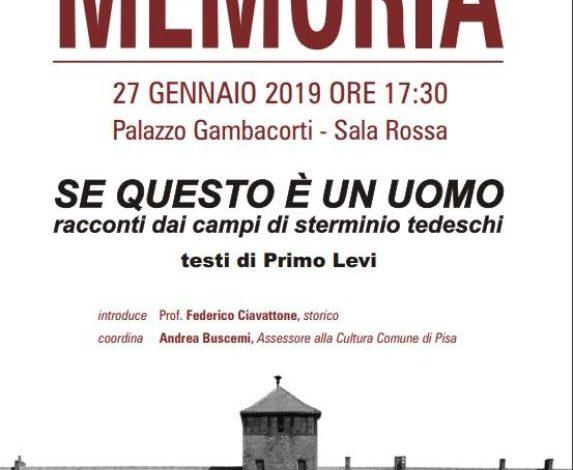 Pisa, Giornata della Memoria incontro con lo storico Federico Ciavattone