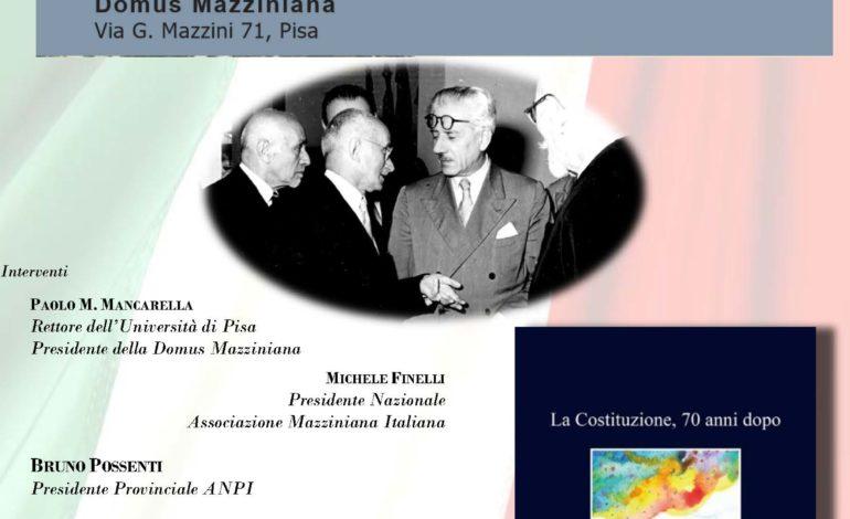 """Pisa, presentazione del libro """"La Costituzione, 70 anni dopo"""""""