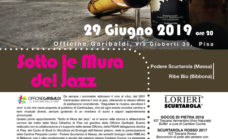 """Pisa, alle Officine Garibaldi arriva CantinaJazz """"Sotto le Mura del Jazz"""""""